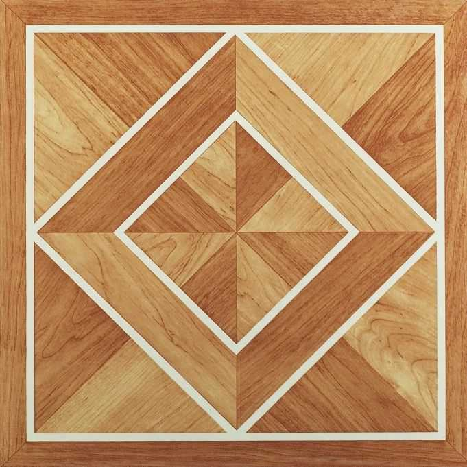 Achim Tivoli White Border Classic Inlaid Parquet 12x12 Self Adhesive Vinyl Floor Tile - 45 Tiles/45 sq. ft.