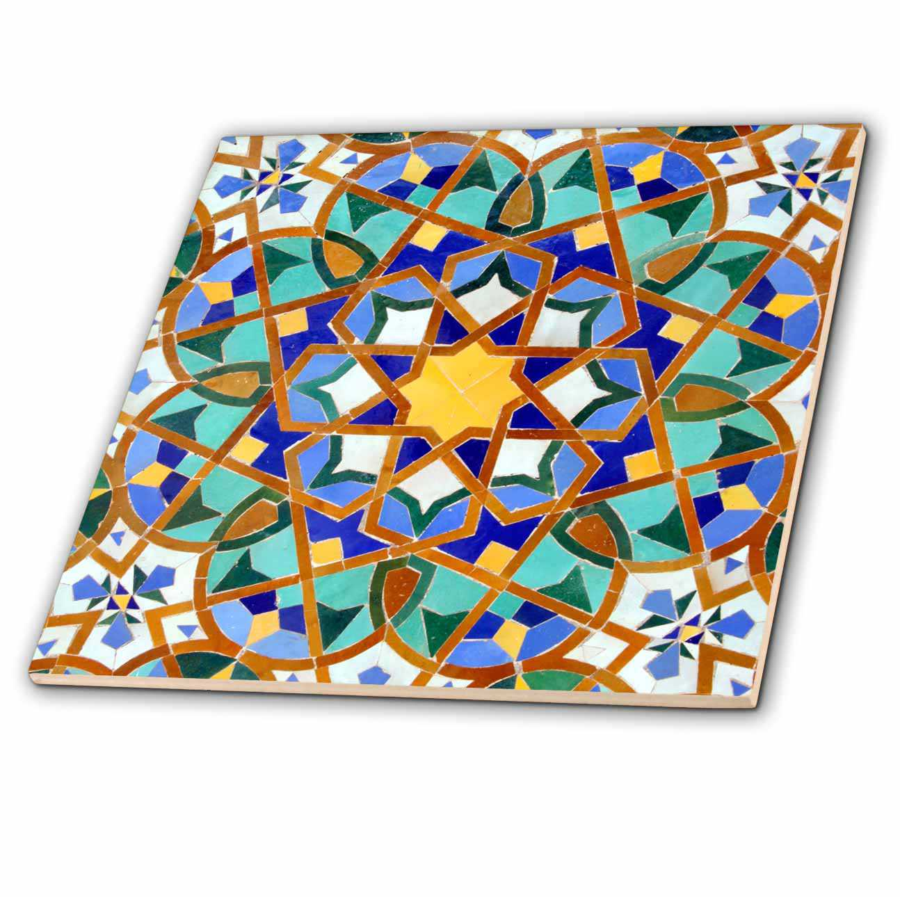 3dRose Morocco, Hassan II Mosque mosaic, Islamic tile detail-AF29 KWI0018 - Kymri Wilt - Ceramic Tile, 4-inch