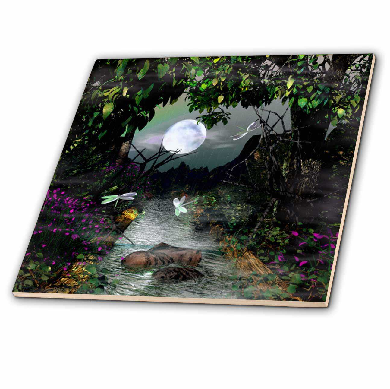 3dRose Creek, Moon Nature Scene - Ceramic Tile, 6-inch