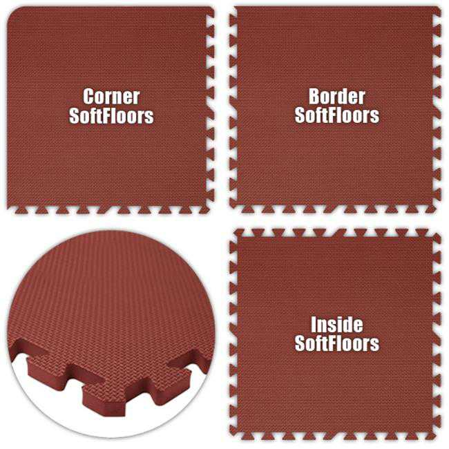 Alessco SFBY3434 SoftFloors -Burgundy -34 x 34 Set