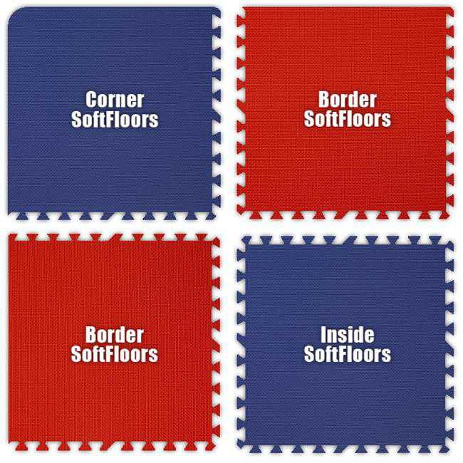 Alessco SFRBRD0202B SoftFloors -Royal Blue & Red Checkerboard -2 X 2 X .625inch Border
